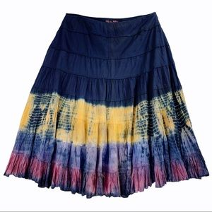 100% Cotton Tie Dyed Tiered Skirt